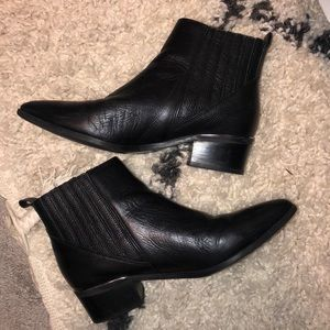 Black booties by MARC FISHER